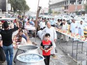 Photos: Hussaini service processions offer Iftar tables in Karbala